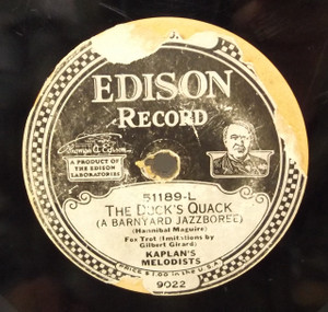 Kaplan's Melodists: The Duck's Quack (A Barnyard Jazzboree) / Paul Victorin's Orchestra: Louisville Lou - #51189 Edison Diamond Disc Record