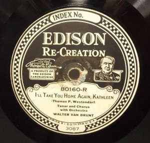 Walter Van Brunt: On the Banks of the Brandywine / I'll Take You Home Again, Kathleen - #80160 Edison Diamond Disc