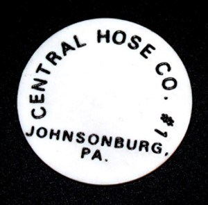 Vintage White Central Hose Co. #1 Beer Chip Token - Johnsonburg, PA