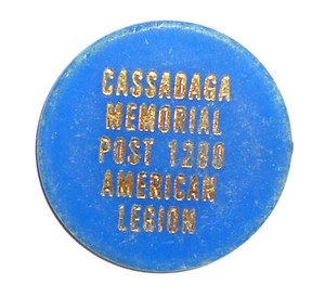 Blue Vintage Beer Chip Drink Token from American Legion Post #1280 - Cassadaga, NY
