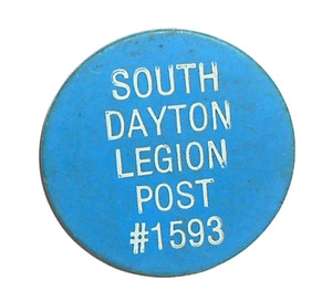 Blue Vintage Beer Chip Drink Token from American Legion Post #1593 - South Dayton, NY
