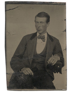 Antique 1/6 Plate Tintype Photograph Young Victorian Man Rosy Cheeks w/ Bowtie