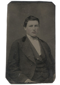 Antique 1/6 Plate Tintype Photograph Chubby Victorian Man Rosy Cheeks w/ Bowtie
