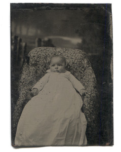 Antique 1/6 Plate Tintype Photograph Bright Eyed Chubby Baby Christening Dress