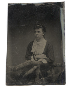 Antique 1/6 Plate Tintype Photograph Victorian Woman Leaning on Log Fence