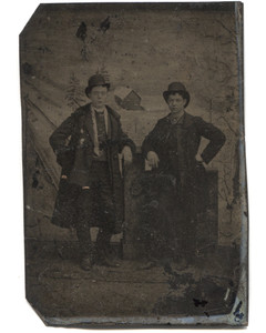 Antique 1/6 Plate Tintype Photograph Two Well Dressed Victorian Boys in Top Hats