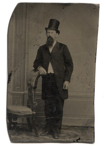 Antique 1/6 Plate Tintype Photograph Man with Goatee Standing Suit with Top Hat