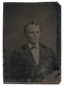 Antique 1/6 Plate Tintype Photograph Young Curly Haired Man with Widow's Peak