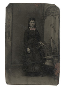 Antique 1/6 Plate Tintype Photograph Young Woman Hand-Tinted Pink Bowtie