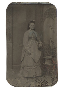 Antique 1/6 Plate Tintype Photograph Young Victorian Woman in Elaborate Dress