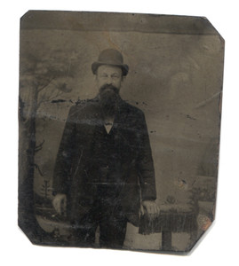 Antique 1/9 Plate Tintype Photograph Man in Derby Bowler Hat with Goatee