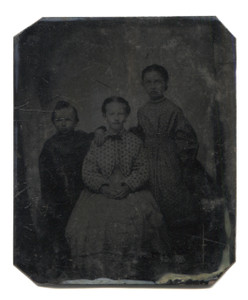 Antique 1/6 Plate Tintype Photograph Three Sad Looking Children with Frowns
