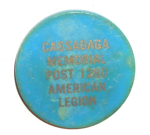 Vintage Beer Chip Drink Token from Cassadaga New York Memorial Post 1280 American Legion