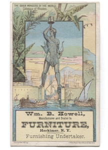 Antique 1881 Howell Furniture Herkimer NY Victorian Trade Card Colossus Rhodes