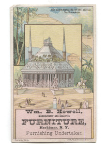 Antique 1881 Howell Furniture Herkimer NY Victorian Trade Card The Mausoleum