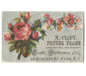 Antique A. Clift Picture Frame Maker Book Dealer Victorian Trade Card Utica, NY