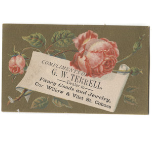 Antique G.W. Terrell Jewelry Retailer Victorian Trade Card Rose - Cohoes, NY