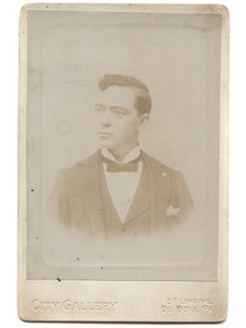 Antique Cabinet Card Photograph of Named Young Man A.A. Casler, Karthaus, PA