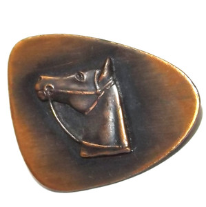 Vintage Mid-Century Modern Free Form Copper Brooch Pin with Horse Head in Relief