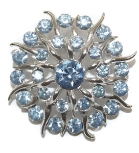 Vintage Silver Tone Flower Sun Shaped Brooch Pin with Baby Blue Rhinestones