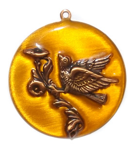 Vintage Enameled Copper Round Necklace Pendant with Bird on Flower in Relief