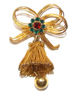 Vintage Gold Tone Christmas Bell & Bow Ornament Shaped Brooch Pin
