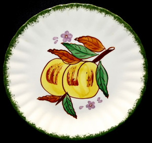 Vintage Hand-Painted Blue Ridge Pottery Country Fair Green Salad Plate - Peaches
