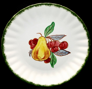 Vintage Hand-Painted Blue Ridge Pottery Country Fair Green Salad Plate Pear & Cherries