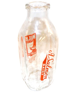 Vintage A. Salmon Dairy ACL Square Glass Quart Milk Bottle