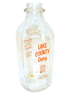 Vintage Lake County Dairy Square Quart Pyro Milk Bottle w/ Cartoon Milkman - Jamestown, NY