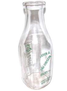 Vintage Quart Glass John A. Jacobson Dairy ACL Milk Bottle - Jamestown, NY