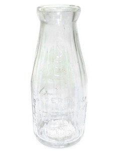 Vintage Round Embossed Glass Pint Milk Bottle Queen City Dairy