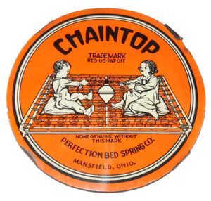 Antique Chaintop Perfection Bed Spring Co. Metal Mattress Spring Tag Tin Advertising Sign Mansfield, OH