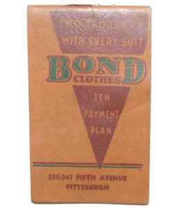 1938 Bond Clothes Advertising Notebook Note Pad - Pittsburgh, PA