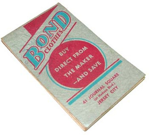 1942 Bond Clothes & Hats Advertising Note Pad - Jersey City, NJ