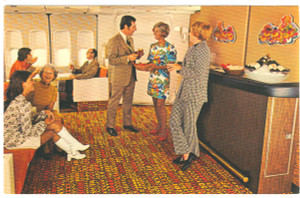 1970's Continental Airlines Boeing 747 Lounge RPPC