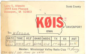 K0IS Ham Radio QSL Card - Davenport, Iowa