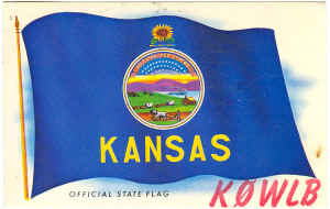 K0WLB Kansas State Flag Radio QSL Card - Kansas City