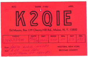 K2QIE Ham Radio QSL Card - Maine, New York