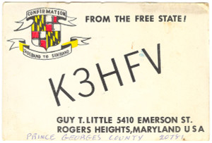 K3HFV Ham Radio QSL Card - Rogers Heights, Maryland