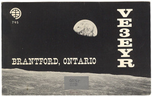 VE3EYR Ham Radio QSL Card Moon & Earth Photo - Brantford, Ontario