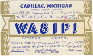 WA8IPJ Ham Radio QSL Card - Cadillac, Michigan