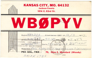WB0PYV Ham Radio QSL Card - Kansas City, MO