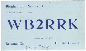 WB2RRK Ham Radio QSL Card - Binghamton, New York