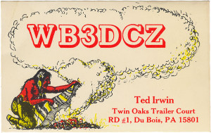 WB3DCZ Indian Smoke Signal Ham Radio QSL Card - DuBois, PA