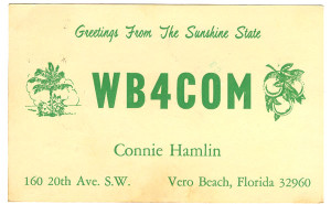 WB4COM Ham Radio QSL Card - Vero Beach, Florida