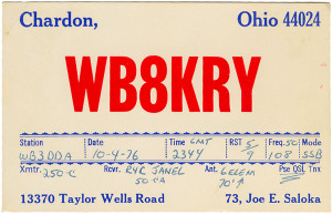WB8KRY Ham Radio QSL Card - Chardon, Ohio