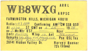 WB8WXG Ham Radio QSL Card - Farmington Hills, Michigan