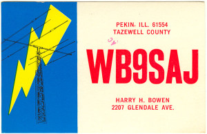 WB9SAJ Ham Radio QSL Card - Pekin, Illinois