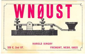 WN0UST Unused Ham Radio QSL Card - Fremont, Nebraska
